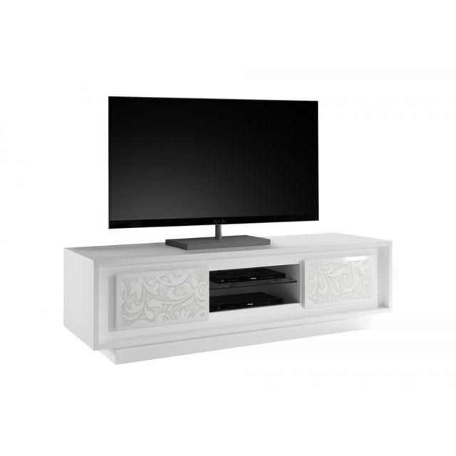 Subleem Meuble Tv deux portes Monno Blanc laqué mat floral