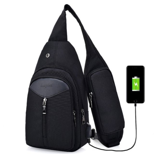 ff29950626 Wewoo - Sac à dos portable occasionnels noir Sacs à bandoulière unisexe  extérieure Triangle Design Crossbody