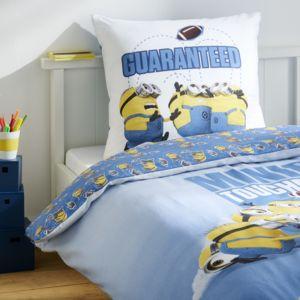 soldes minions parure housse de couette taie d 39 oreiller bleu 140 200 pas cher achat. Black Bedroom Furniture Sets. Home Design Ideas