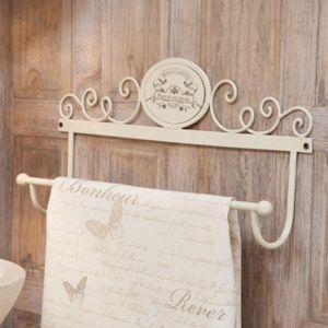 amadeus porte serviette mural en m tal blanc 48x24cm parfum des anges pas cher achat vente. Black Bedroom Furniture Sets. Home Design Ideas