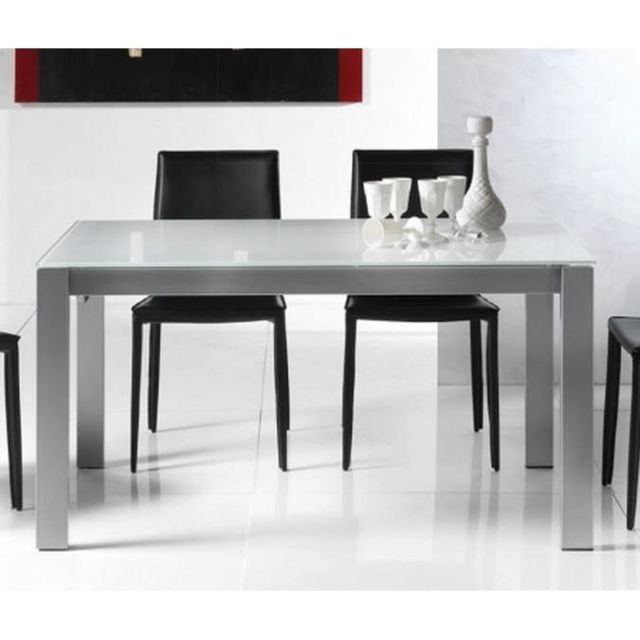 Inside 75 Table repas extensible Twelve 140 x 85 cm verre extra-blanc