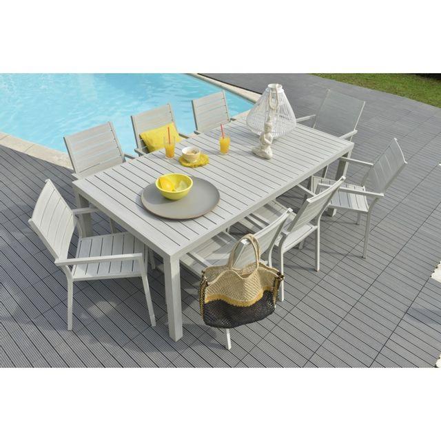 Table en aluminium Marjorie L. 200 x l.100x H. 72,5 cm. Structure en aluminium. Dimensions : L. 200 x l.100x H. 72,5 cm