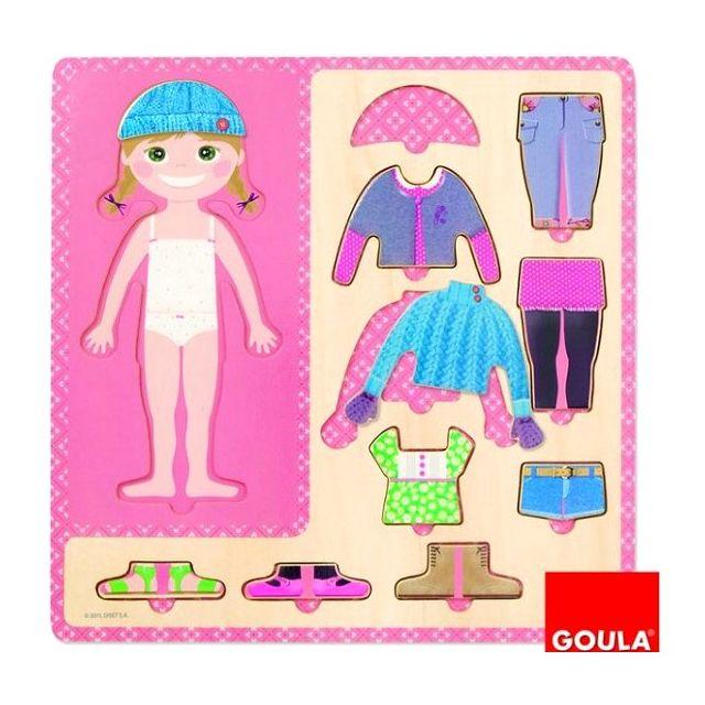 GOULA Puzzle 10 pièces en bois : Petite fille s'habille