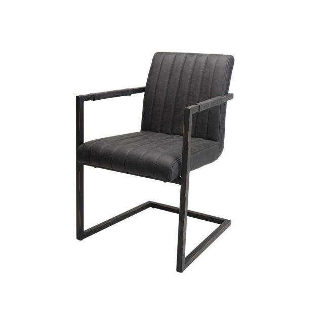 Bobochic Lot de 2 fauteuils tissu gris anthracite Ofis