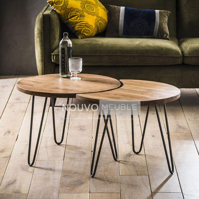 Nouvomeuble Petite table de salon en bois massif Raen 3