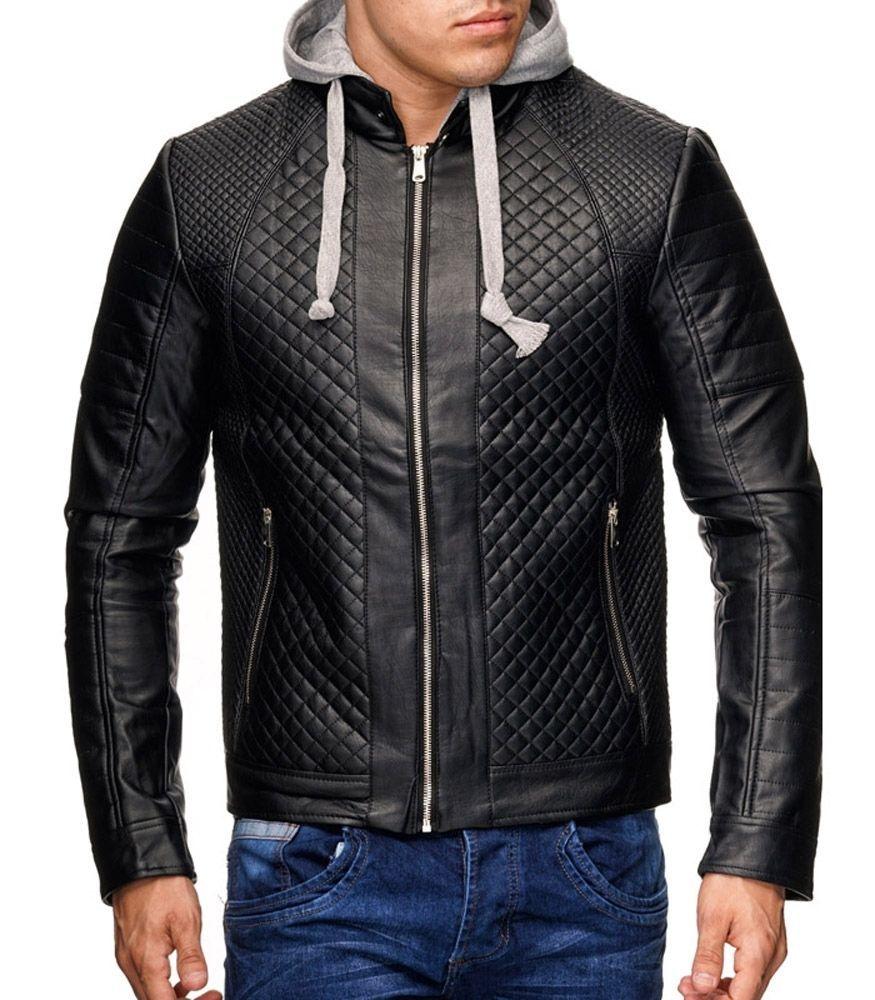 Veste en cuir à capuche homme Veste fashion 21 noir
