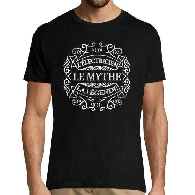 CLOSSET Electricien Le Mythe La Légende | T-shirt Noir Homme Métier Humour Fun et Drôle - Tshirt Idéal pour idée Cadeau Anniversaire, collègue Travail, fête des pères, Noël Xxl