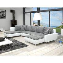 Meublesline - Canapé d'angle en U Dante 6 à 7 places gris et blanc