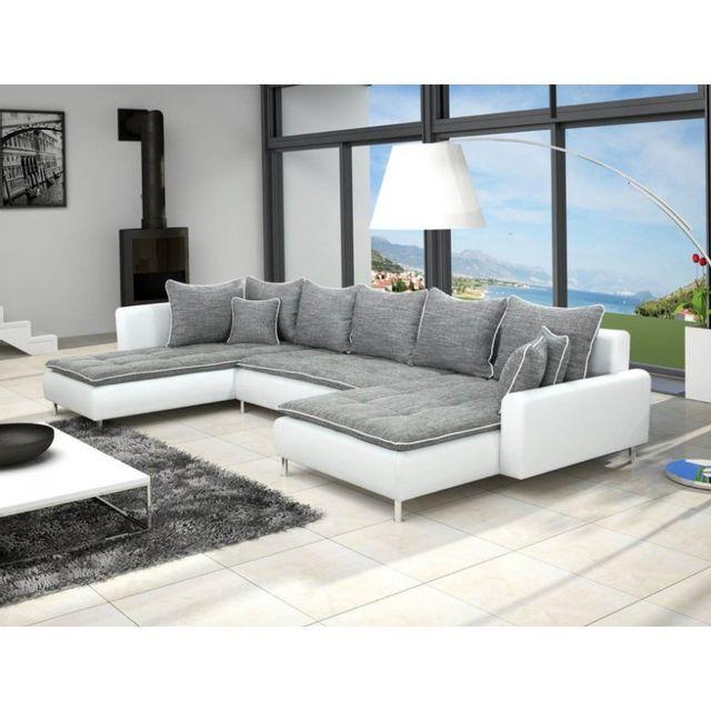 meublesline canap d 39 angle en u dante 6 7 places gris et blanc gris blanc 360cm x 82cm x. Black Bedroom Furniture Sets. Home Design Ideas