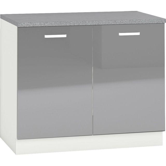Comforium Meuble bas de cuisine design 100 cm avec 2 portes coloris blanc mat et gris laqué