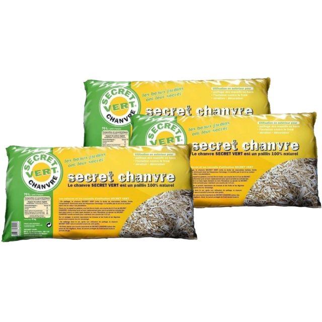 SECRET VERT Secret chanvre paillis de chanvre 70 litres Lot de 3