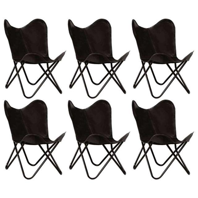 Distingué Fauteuils et chaises ensemble Tokyo Chaises papillon 6 pcs Noir Taille d'enfants Cuir véritable