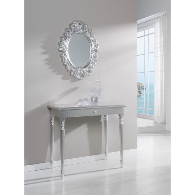 Ma Maison Mes Tendances Miroir oval en polyuréthane argenté Argante - L 54 x l 72