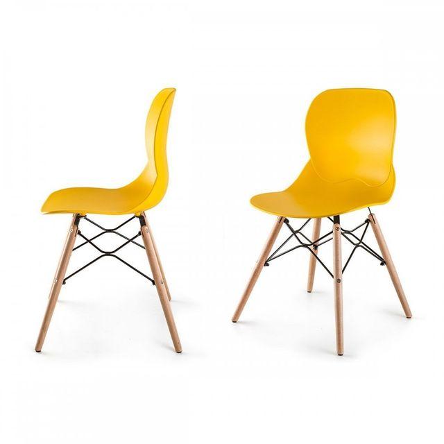 Homekraft Boras Lot de 2 chaises style scandinave nordique Jaune