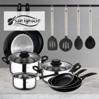 San Ignacio - Set : Set de trois casseroles + 5 pièces ensemble de cuisine + Set d'ustensiles de cuisine