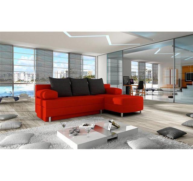 CHLOE DESIGN Canapé d'angle convertible en tissu HIBA - rouge noir - Angle droit