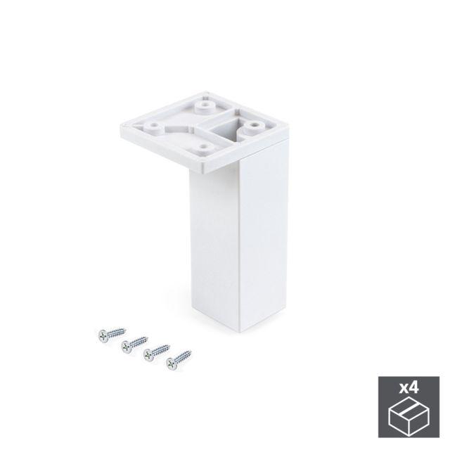 Emuca Pied pour meubles, coin, réglable 100 - 110 mm, Plastique, Blanc, 4 u