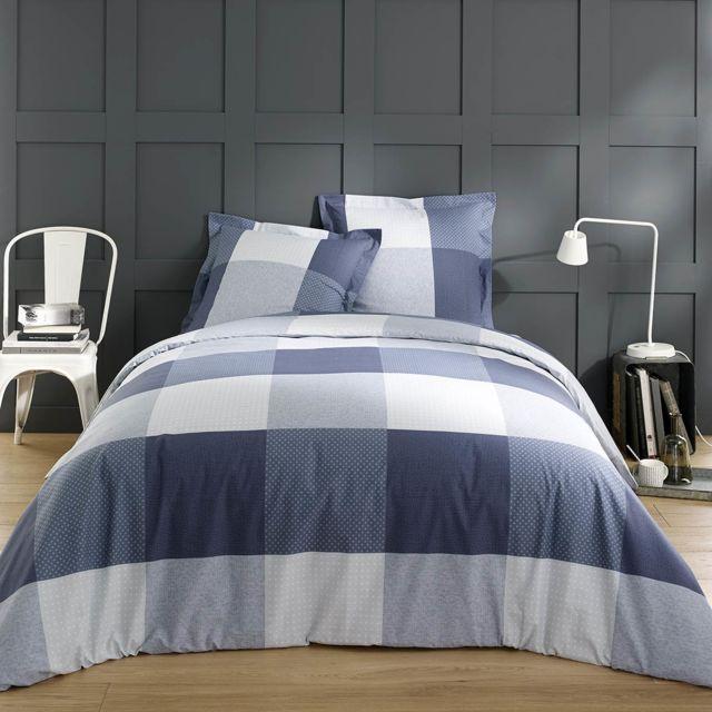 vision housse de couette carol bleu 220x240 2 taies 100 coton 220cm x 240 cm pas cher. Black Bedroom Furniture Sets. Home Design Ideas