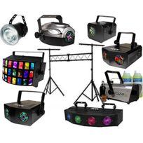 Kool Light - PRO-DJ-LIGHT-7-P Pack 7 jeux de lumière + machine à fumée + liquide+portique