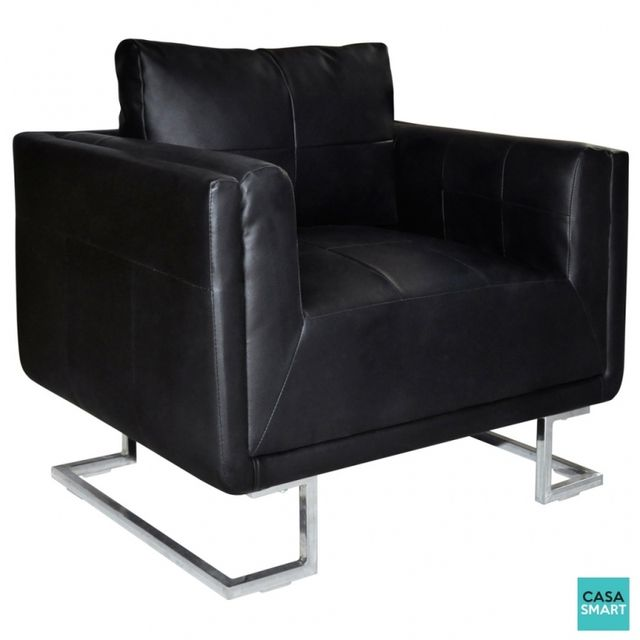Casasmart Fauteuil Grant moderne en cuir noir