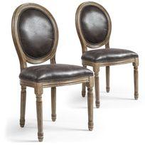 Menzzo - Lot de 2 chaises de style médaillon Louis Xvi Simili P.U, Effet Vieilli