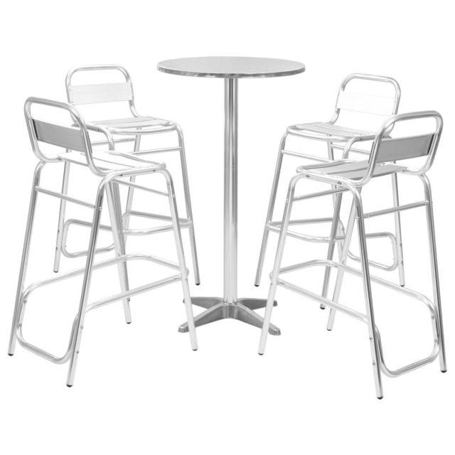 pcs Argenté Aluminium bar 5 de avec Ensemble ronde table IvYfm7gyb6