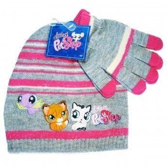 7e0350451f1 Littlest Petshop - Bonnet et gants gris et rose Taille 52 - pas cher Achat    Vente Casquettes enfant - RueDuCommerce