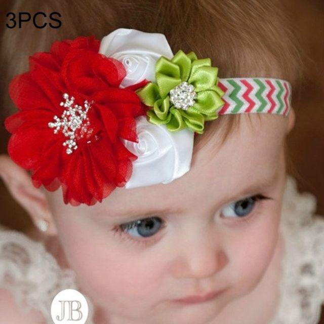 4d414908bc00c Wewoo - Bandeau 3 Pcs De Noël Décoration Bébé Enfant En Mousseline de Soie  Fleur Bandeau