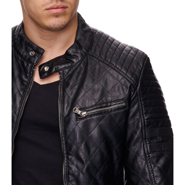 Freeside - Veste fashion en cuir homme Veste 1021 noir