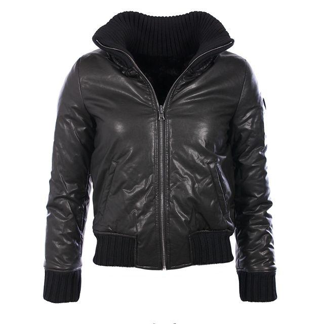 9744095e3b88 Armani - Ea7 Blouson bomber réversible noire femme en simili cuir - pas cher  Achat   Vente Blouson femme - RueDuCommerce