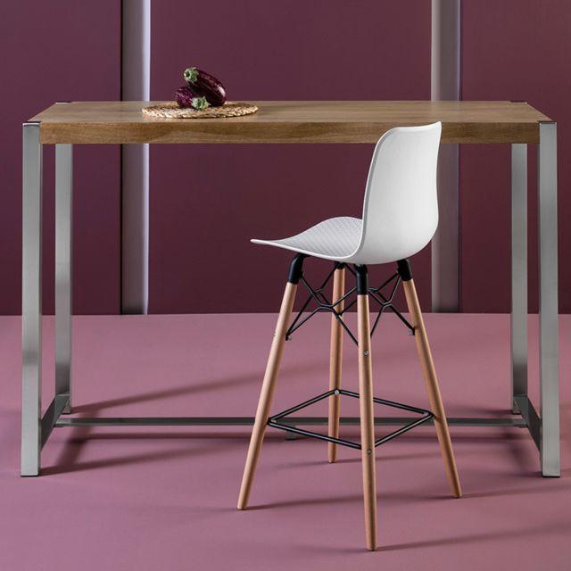 Kasalinea Table haute moderne couleur bois clair et chrome Passi 2
