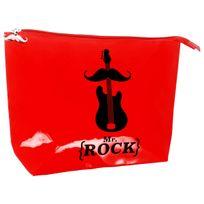 Promobo - Pochette De Toilettes Vanity Homme Mr Moustache Mr Rock Rouge 22x13cm