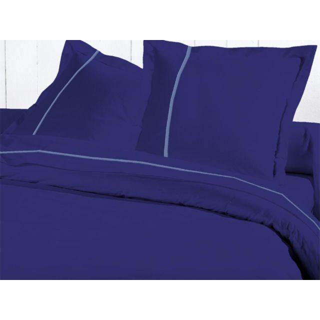 david olivier drap plat coton 270x310 cm fleur de percale bleu roi liser bleu oc an pas. Black Bedroom Furniture Sets. Home Design Ideas