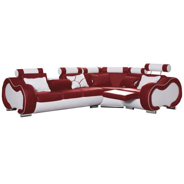 COMFORIUM Canapé d'angle gauche design 5 places avec relax manuel en pvc et cuir véritable coloris rouge et blanc C-Ekwutosi