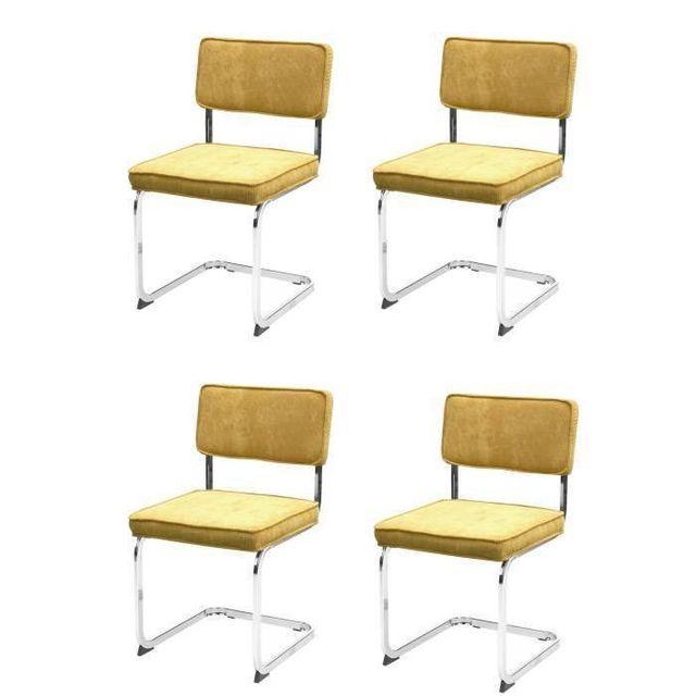 Aucune - Manu Lot de 4 chaises de salle a manger curry. pieds chrome ... 29ca648dbb6f