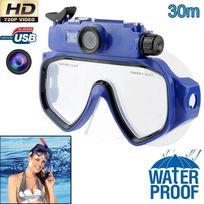 Yonis - Masque de plongée caméra Hd 720P 5MP étanche jusqu'à 30m bleu