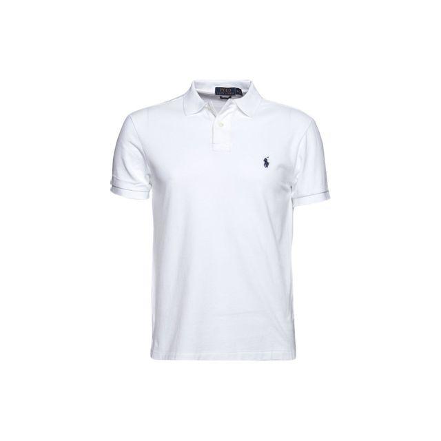 Polo Pour Blanc Lauren Fit Boutons Slim Ralph Homme 2 p5O6qW