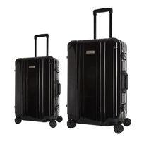 Platinium - Set de 2 Valises Rigide Polycarbonate Luxe 8 Roues Noir avec Cadre Aluminium et Cadenas Tsa