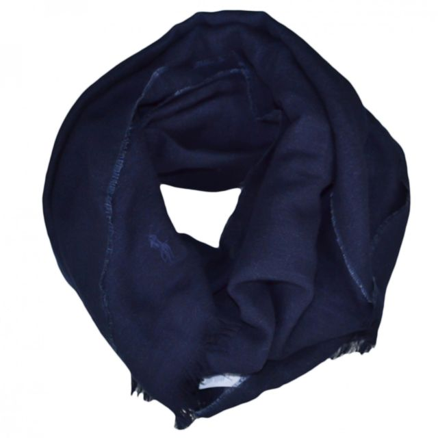 dcbd68da057f Ralph Lauren - Echarpe luxueuse Ralph Lauren bleu marine en lin et laine  pour homme