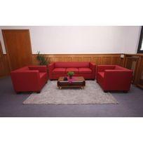 Mendler - Salon 3-1-1, garniture de canapés / lounge Lille ~ cuir, rouge