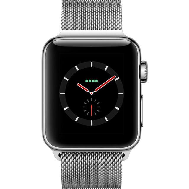 APPLE Watch 3 Cellular 38 - Acier / Bracelet milanais argent Siri parle - Cardiofréquencemètre - Accéléromètre - Altimètre barométrique
