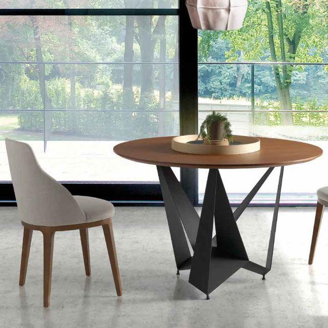 Nouvomeuble Table ronde contemporaine couleur noyer et métal Atlas