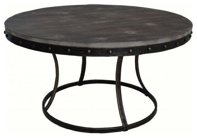 Declikdeco Table basse ronde en métal et bois Fondia