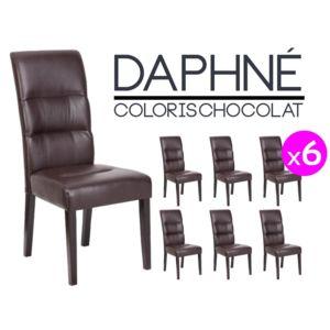 Altobuy daphn lot 6 chaises marron pas cher achat for Lot de 6 chaises conforama