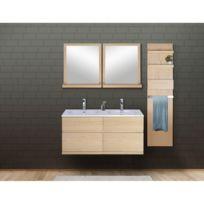 Ensemble salle de bain chêne 120 cm meuble + vasque + 2 miroirs + module  rangement Enio