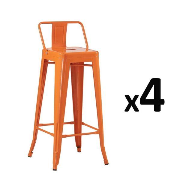 Zons Lot De 4 Tabouret Bar Design Industriel Orange Pas Cher