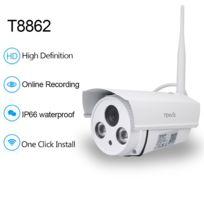 TENVIS - T8862 Caméra de surveillance extérieur HD 720P IP Wifi sans fil - 1280x720 1 Megapixels - Waterproof - Alarme Push sur Appli - Vision Nocturne 20m - Application téléphone & Guide en français