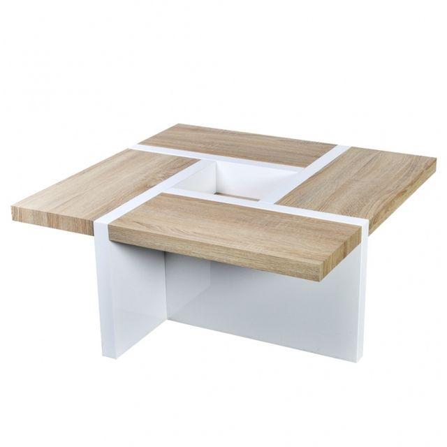 Casasmart Table basse blanche et bois de chêne