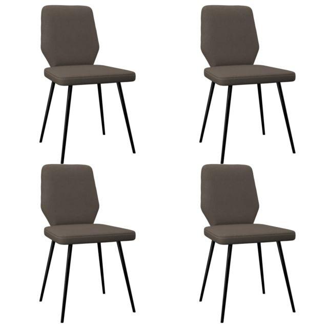 Icaverne Chaises de cuisine & de salle à manger selection Chaises de salle à manger 4 pcs Taupe Tissu