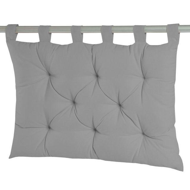 Dhf Coussin tête de lit à passants 8 capitons uni 100% coton 60x80cm Romeo - Gris clair